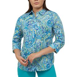 Alia Petite Watercolor Paisley Button Down Roll Tab Top