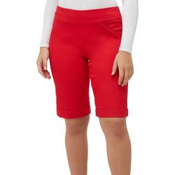 Alia Petite Solid Twill Stretch Pull On Bermuda Shorts
