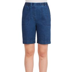 Alia Petite Pull-On Cottage Denim Shorts