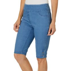 Alia Petite Denim Button Hem Pull-On Shorts