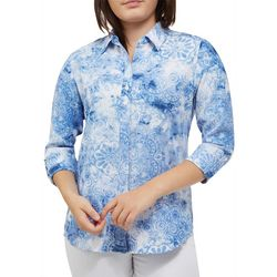 Alia Petite Floral Medallion Button Down Roll Tab Top