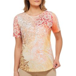 Alia Petite Embellished Ikat Print Top