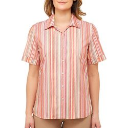 Alia Petite Stripe Embroidered Button Down Top