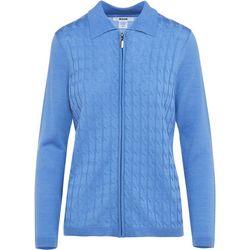 Alia Petite Solid Textured Twist Zipper Sweater