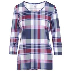 Alia Petite Plaid Print Round Neck Top