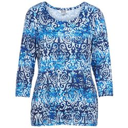 Alia Petite Scroll Print Round Neck Top
