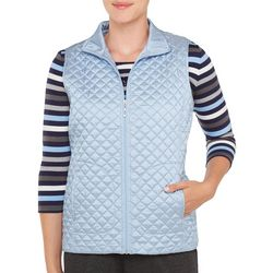 Alia Petite Solid Quilted Zip Up Vest