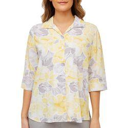 Alia Petite Daffodil Print Button Down Top