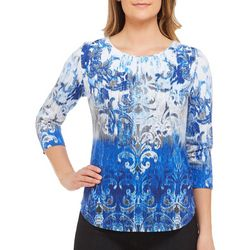 Alia Petite Embellished Damask Print Top