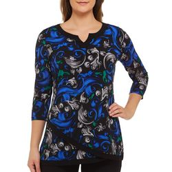 Alia Petite Scroll Print Asymmetrical Hem Tunic Top