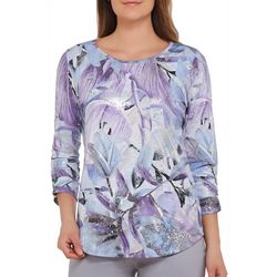 Alia Petite Metallic Painted Floral Top