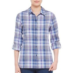 Alia Petite Plaid Button Down Roll Tab Top