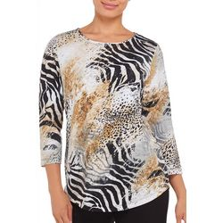 Alia Petite Embellished Mixed Animal Print Top