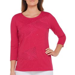 Alia Petite Embellished Lace Patch Top