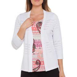 Alia Petite Open Front Shadow Stripe Cardigan