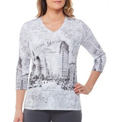 Alia Petite New York Destination Print Top
