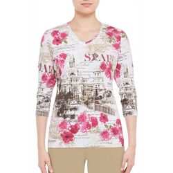 Alia Petite Spain Destination Print Top