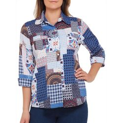 Alia Petite Patchwork Button Down Woven Top