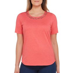 Alia Petite Solid Metal Embellished Neck Top