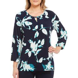Alia Petite Abstract Floral Keyhole Top