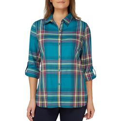 Alia Petite Plaid Woven Button Down Top