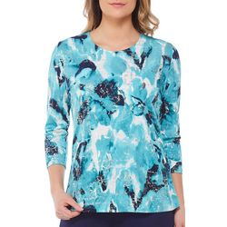 Alia Petite Abstract Floral Metallic Foil Top