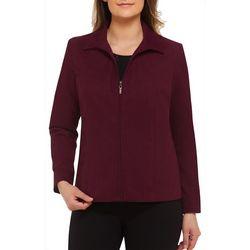 Alia Petite Solid Front Zip Jacket