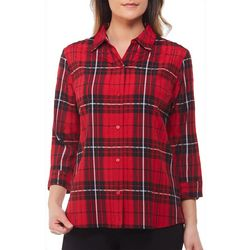 Alia Petite Plaid Print Woven Button Down Top