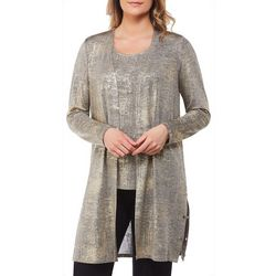 Alia Petite Metallic Distressed Embellished Grommet Cardigan