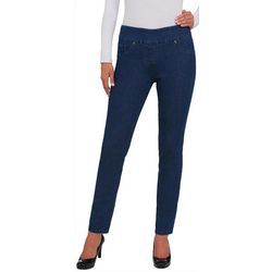 Alia Petite Pull On Solid Stretch Skinny Denim Pants