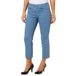Alia Petite Diamond Denim Pull On Stretch Ankle Jeans