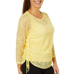 Hearts of Palm Petite Sunny Side Up Woven Ruched Top