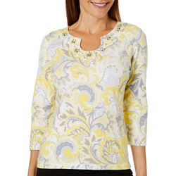 Hearts of Palm Petite Sunny Side Up Jeweled Floral Top