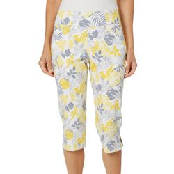 Hearts of Palm Petite Sunny Side Up Leaf Print Capris