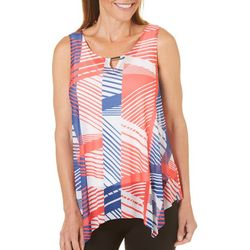 Hearts of Palm Petite Blue Print Mesh Keyhole Tank Top