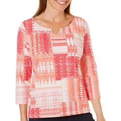 Hearts of Palm Petite Embellished Patchwork Print Top
