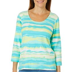 Hearts of Palm Petite Palm Perfect Painted Striped Top