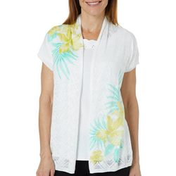 Hearts of Palm Petite Palm Perfect Tropical Floral Cardigan