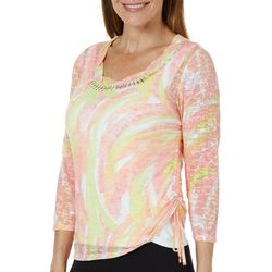 Hearts of Palm Petite Blush Strokes Ruched Burnout Top