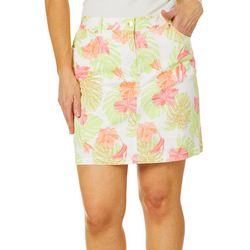 Hearts of Palm Petite Blush Strokes Tropical Print Skort