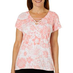 Hearts of Palm Petite Blush Strokes Floral Ladder Neck Top