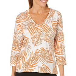 Hearts of Palm Petite Tribal Matters Surpliced Leaf Top