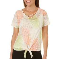 Hearts of Palm Petite Tribal Matters Palm Leaf Tie Front Top