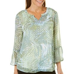 Hearts of Palm Petite Island Treasures Sheer Palm Print Top