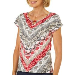 Hearts of Palm Petite Wrapped In Rubies Snake Print Top