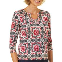 Hearts of Palm Petite Wrapped In Rubies Tile Print Top