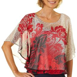 Hearts of Palm Petite Wrapped In Rubies Floral Animal Top