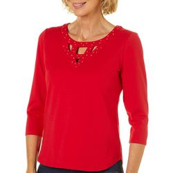 Hearts of Palm Petite Wrapped In Rubies Embellished Neck Top