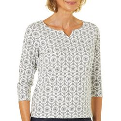Hearts of Palm Petite Must Haves III Snowflake Print Top