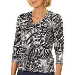 Hearts of Palm Petite Must Haves III Animal Faux-Wrap Top